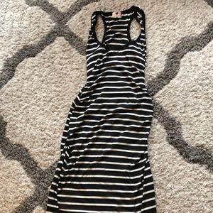 Black and white stripped maxi sun dress